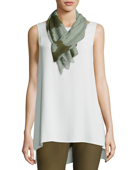 Eileen Fisher Colorblocked Silk Shibori Scarf, Olive