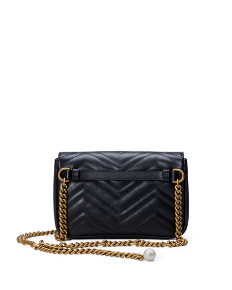 GG Marmont Matelassé Flap Belt Bag, Black