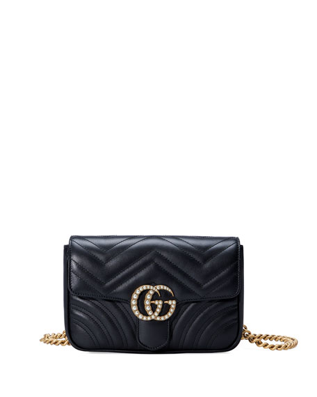 Gucci GG Marmont Matelassé Flap Belt Bag, Black