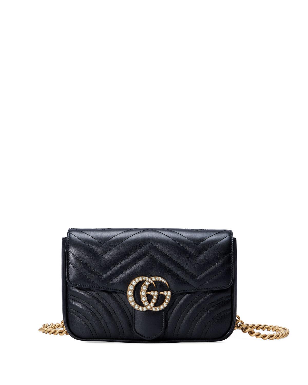 906633eb6328e5 Gucci GG Marmont Matelassé Flap Belt Bag, Black | Neiman Marcus