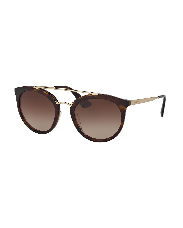 25f54648f222 Prada Round Brow-Bar Sunglasses   Neiman Marcus