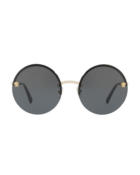 Rimless Round Monochromatic Sunglasses, Gold/Black