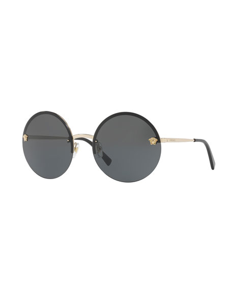 Versace Rimless Round Monochromatic Sunglasses, Gold/Black