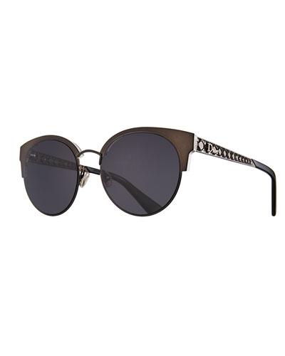 c45d8e0de460 Dioramamini Semi-Rimless Mirrored Sunglasses