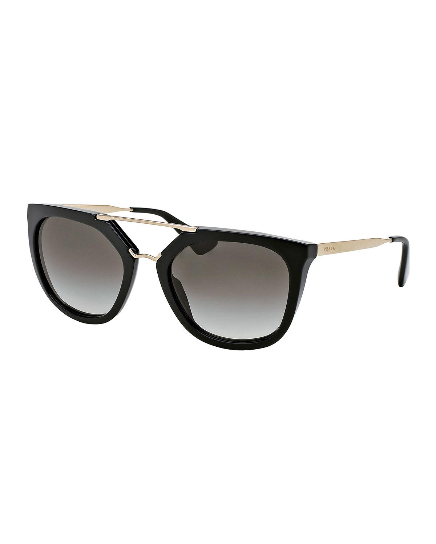 ef3de7f2d50d Prada Straight-Brow Double-Bridge Sunglasses