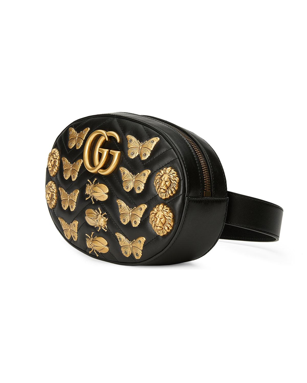 aa24c0794705bd Gucci Matelassé Insects Lion Belt Bag | Neiman Marcus