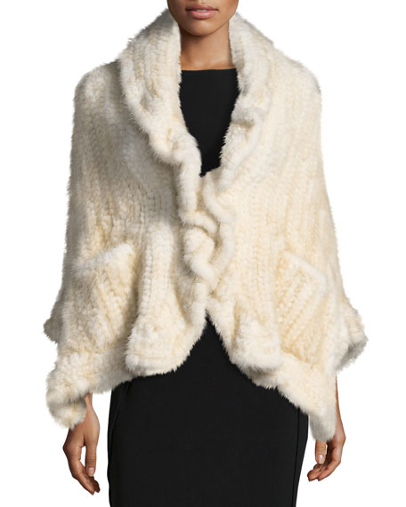 Knit Mink Fur Wrap w/ Pockets, Brown
