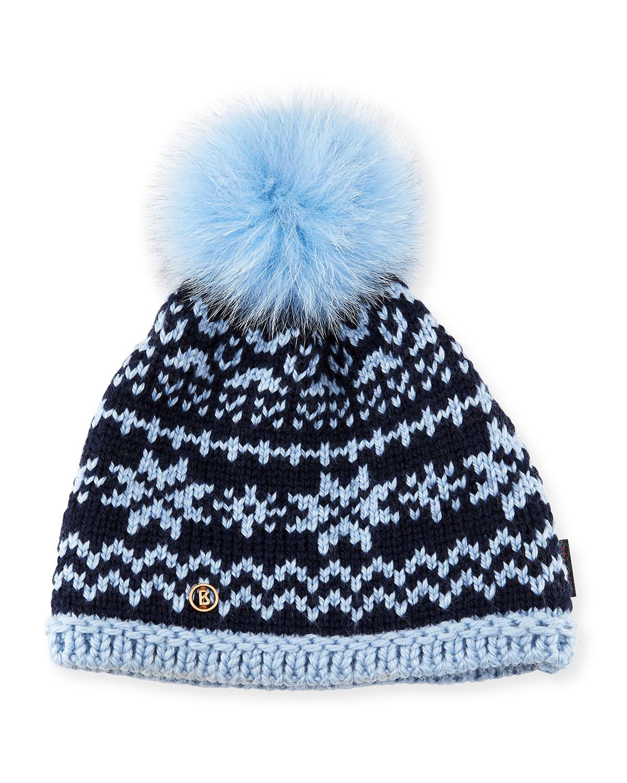 9e13b8df429 Bogner Fire + Ice Kaira Crochet Beanie Hat w  Fur Pompom