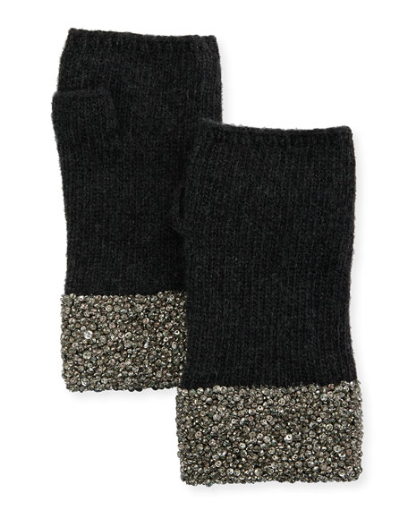 Carolyn Rowan Fingerless Cashmere Gloves w/ Crystal Pave