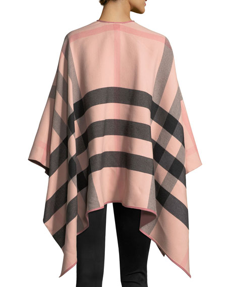 Charlotte Check-To-Solid Wool Cape, Rose