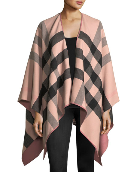 Burberry Charlotte Check-To-Solid Wool Cape, Rose