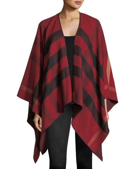 Burberry Charlotte Check-To-Solid Wool Cape, Red