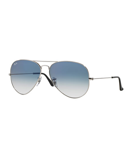 Image 1 of 2: Gradient Metal Aviator Sunglasses, Blue Pattern