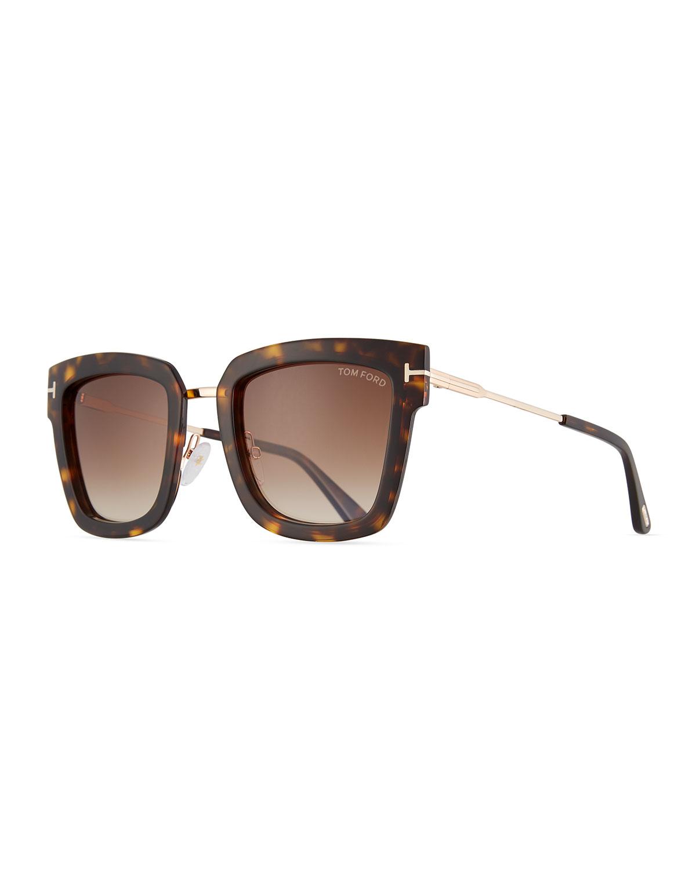 1bde155793 TOM FORD Lara Acetate   Metal Square Sunglasses