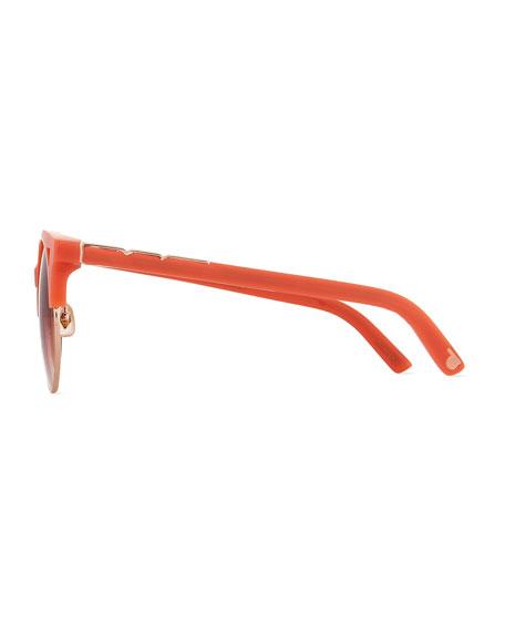 Pared Eyewear Up & At Em Semi-Rimless Round Sunglasses, Coral