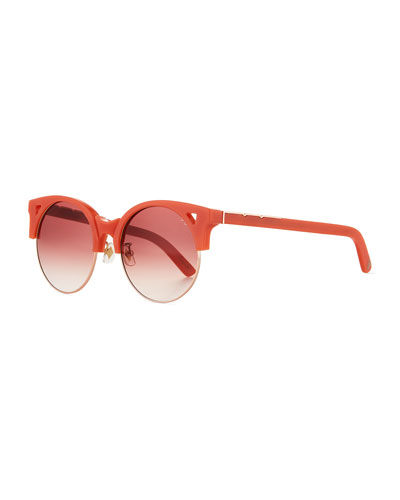Up & At Em Semi-Rimless Round Sunglasses  Coral