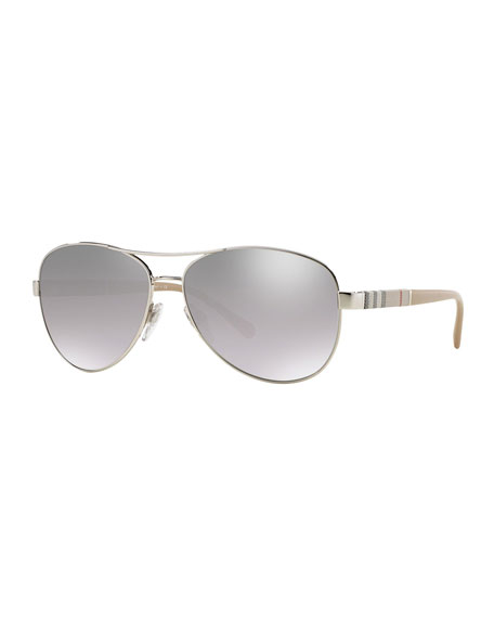 Burberry Mirrored Steel Aviator Sunglasses