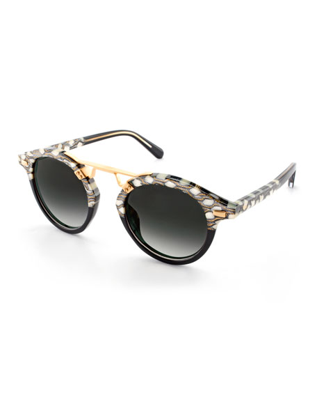 KREWE STL II Two-Tone Round Acetate Sunglasses, Black