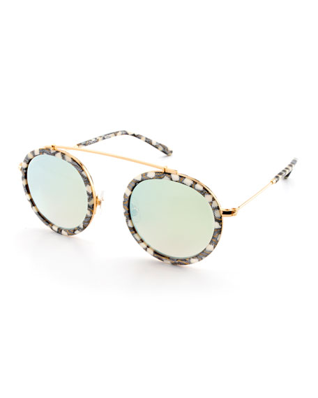KREWE Conti Mirrored Aviator Sunglasses, Stella Pattern