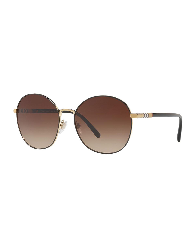33fdac696ab34 Burberry Check-Trim Round Mirrored Sunglasses