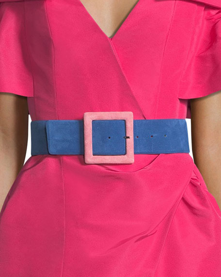 Square-Buckle Lamb Suede Belt