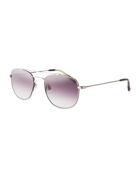 Garrett Leight Club House Rectangle Stainless Steel Sunglasses