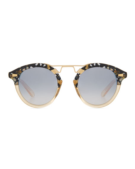 STL II Round Mirrored Sunglasses, Champagne