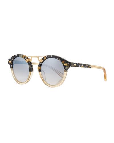 STL II Round Mirrored Sunglasses, Champagne