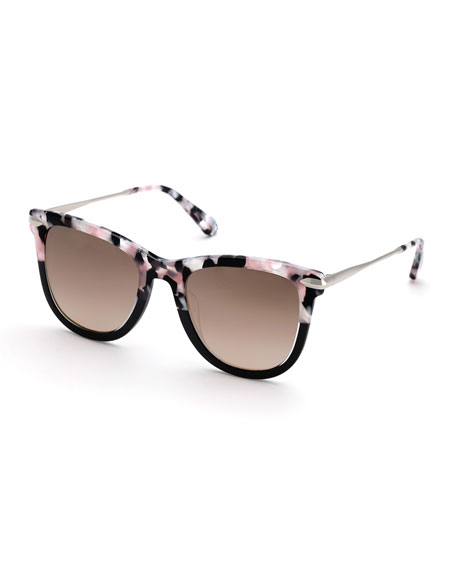 KREWE Simone Two-Tone Square Acetate Sunglasses, Galactic
