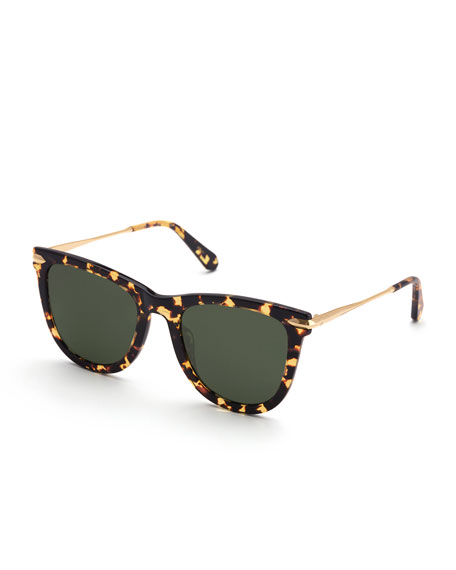 KREWE Simone Polarized Square Acetate Sunglasses, Zulu