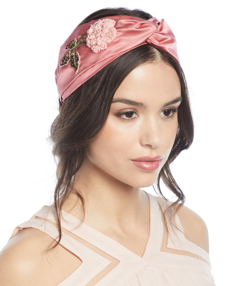 Silk Turban Head Wrap w/ Beaded Flower Embroidery