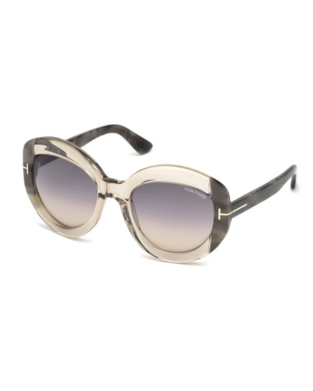 TOM FORD Bianca Two-Tone Acetate Gradient Sunglasses, Champagne