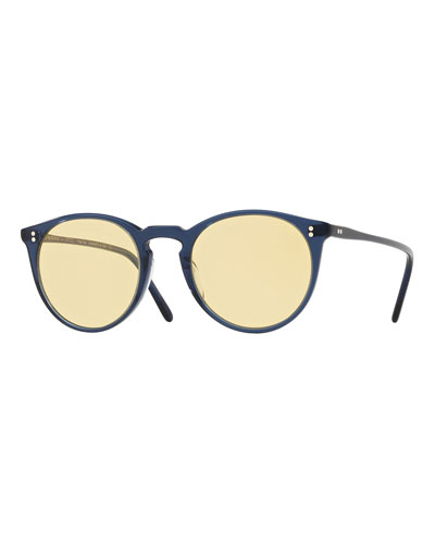 O'Malley Peaked Round Sunglasses - Bright Navy