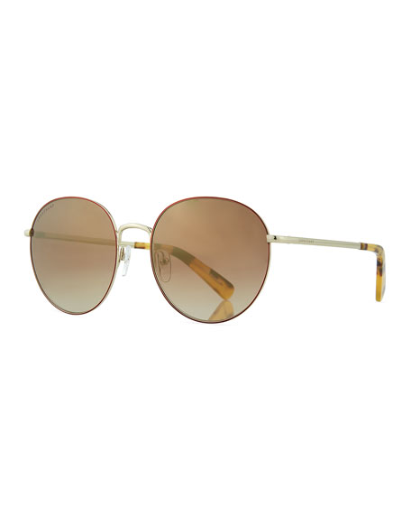 Longchamp Round Metal Gradient Sunglasses
