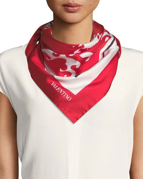 Valentino Silk Logo Waves Scarf