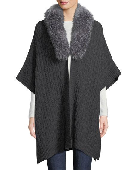 Luxury Cashmere Fur-Collar Cape