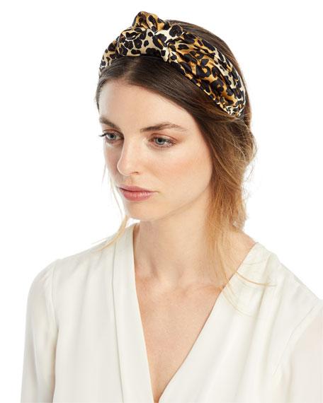 Fiona Silk Leopard Knotted Headband