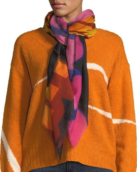 Stella McCartney Gradient Wool-Silk Eyelash-Fringe Scarf