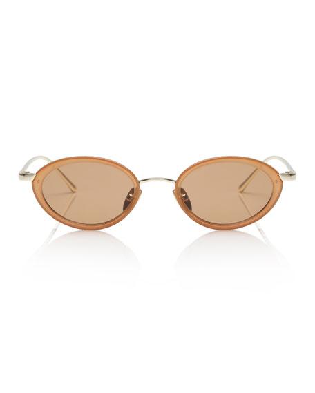 Le Specs Luxe Boom Slim Oval Metal & Plastic Sunglasses