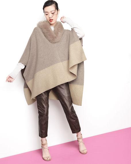 Sofia Cashmere Fur-Color Colorblock Poncho