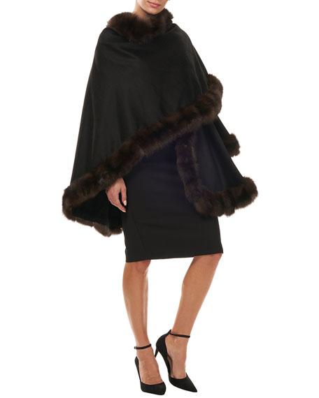Gorski Cashmere Cape with Sable Fur Trim