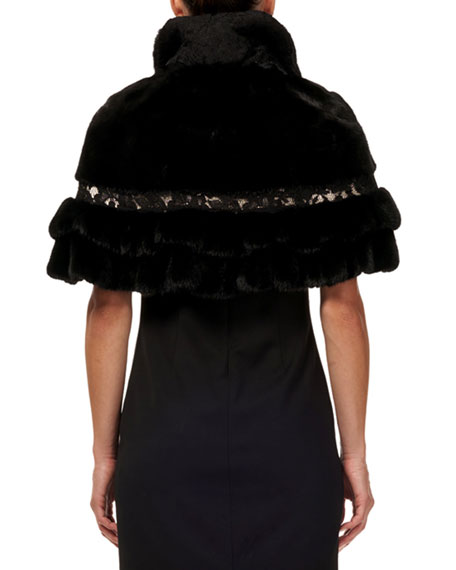 Gorski Mink & Fox Fur Ruffled Capelet w/ Leather and Lace Trim