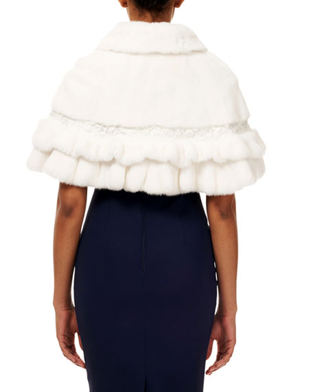 Gorski Mink & Fox Fur Ruffle Capelet w/ Leather and Lace Details