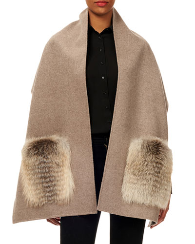 Wool Stole w/ Fur Patch Pockets