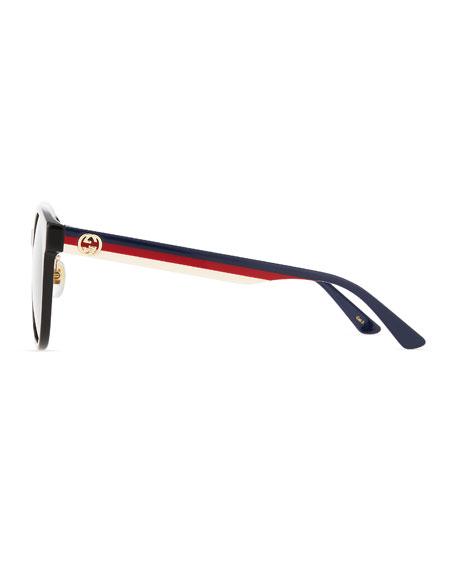 Gucci Round Web-Arms Acetate Sunglasses