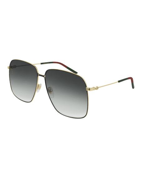 2b337144547f Gucci Square Metal Sunglasses w/ Web Ear Tips | Neiman Marcus