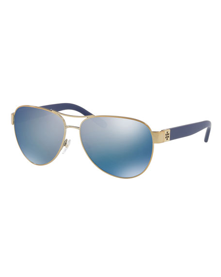 Tory Burch Logo Aviator Sunglasses