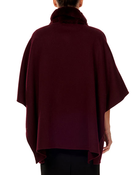 Gorski Wool/Cashmere Cape w/ Rex Rabbit Fur Trim