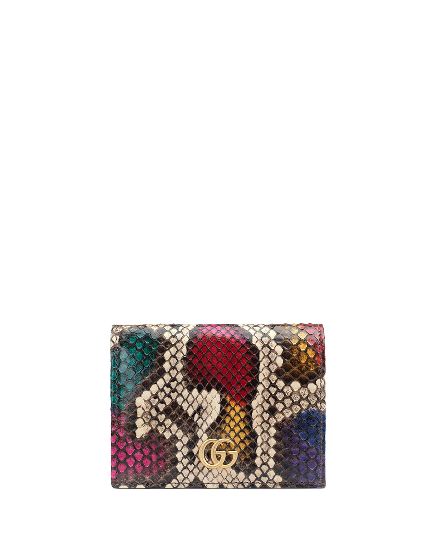 Petite Marmont Colorblock Python Flap Card Case by Gucci