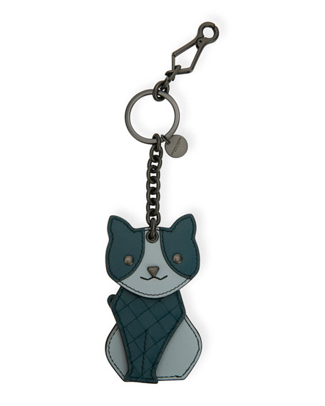 Bottega Veneta Leather Cat Key Chain Charm